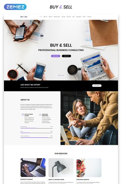 """Landing Page Template namens """"Buy&Sell - Bright Business Consultant HTML"""" #70715"""