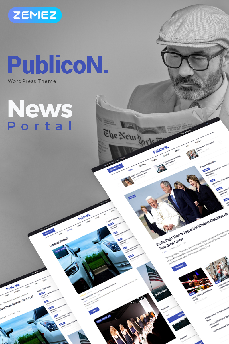 "Modello WordPress Responsive #70784 ""Publicon - News Portal Elementor"""
