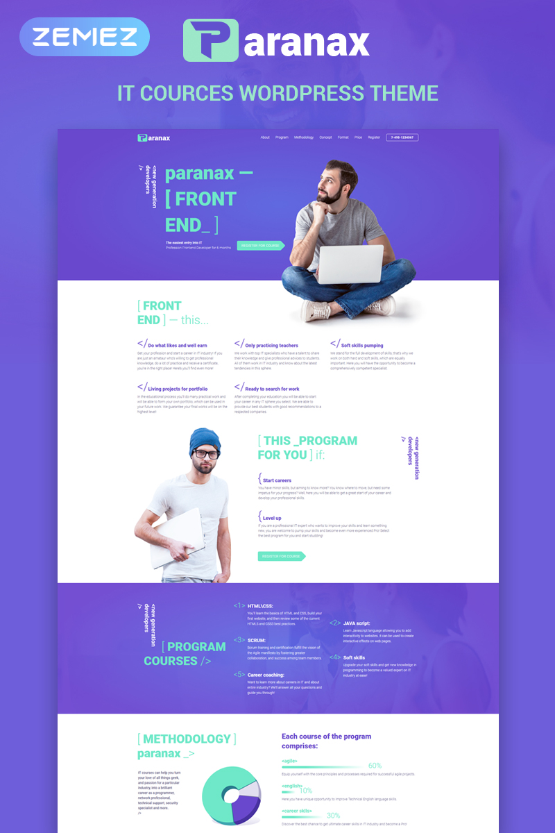 """Paranax - IT Courses Elementor"" - адаптивний WordPress шаблон №70710 - скріншот"