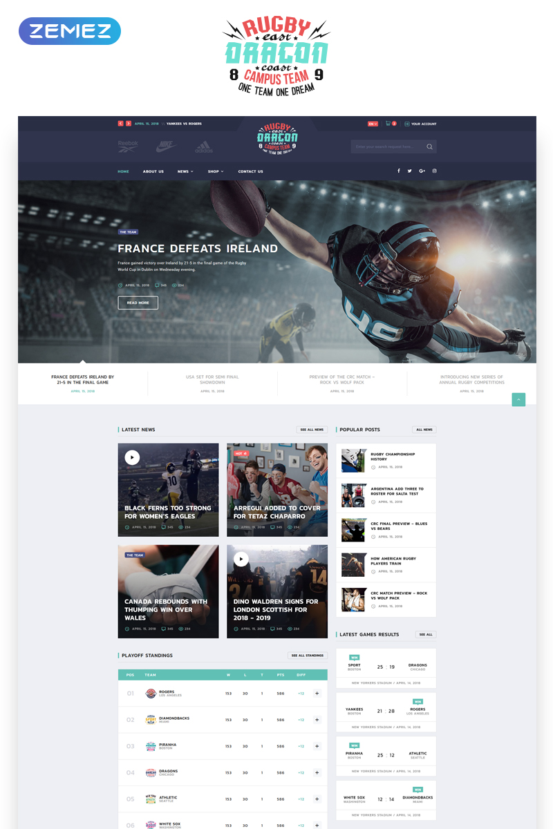 """""""Reebok - Rugby Multipage HTML5"""" Responsive Website template №70713"""