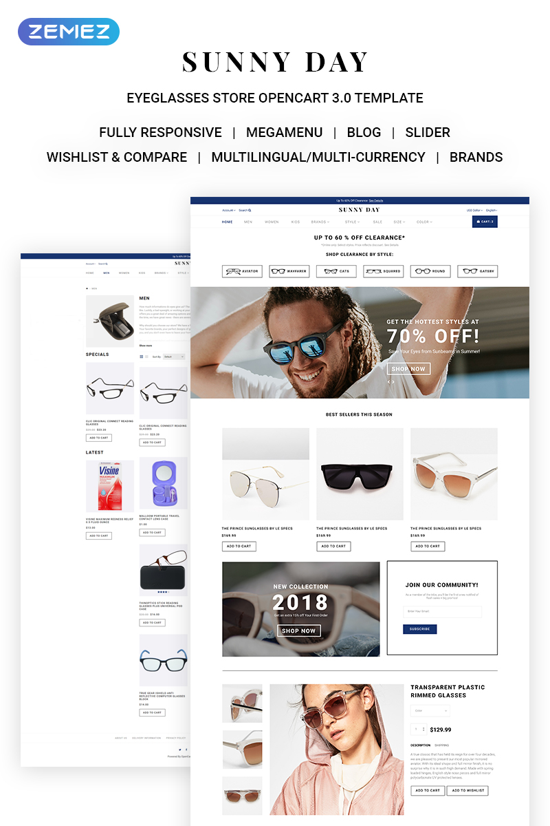 Sunny Day - Classy Eyeglasses Online Store OpenCart Template - screenshot