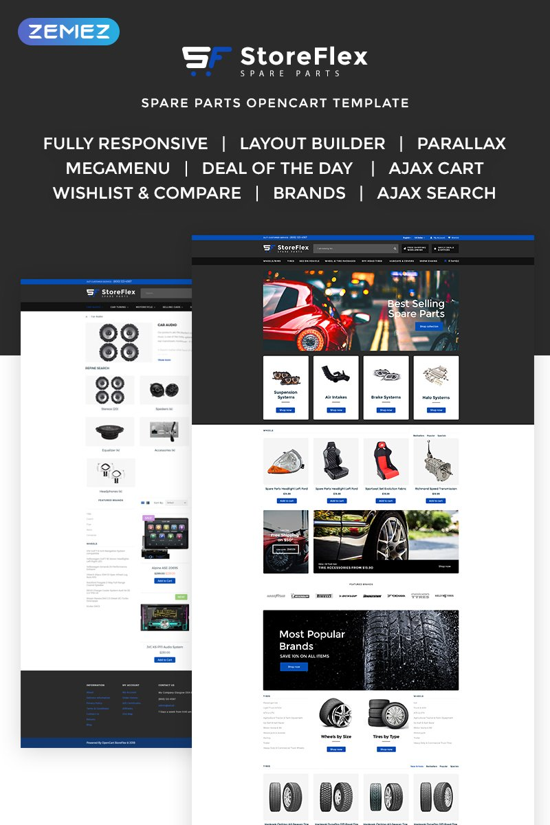 "Tema OpenCart Responsive #70782 ""StoreFlex - Fancy Car Parts Online Shop"""