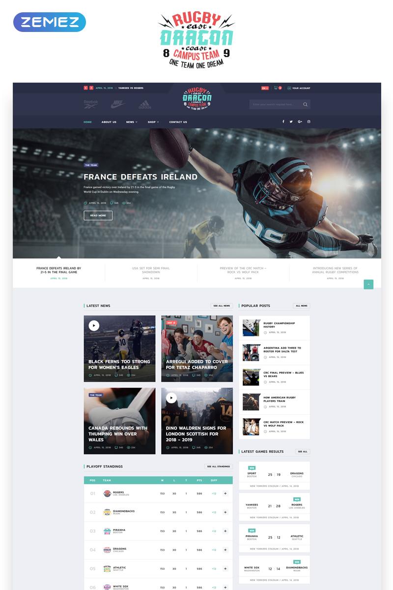"Tema Siti Web Responsive #70713 ""Reebok - Rugby Multipage HTML5"""