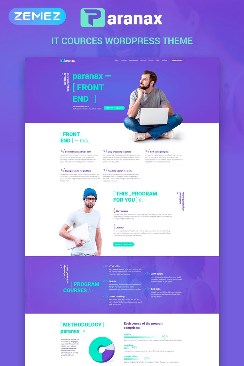 "WordPress Theme namens ""Paranax - IT Courses Elementor"" #70710 - Screenshot"