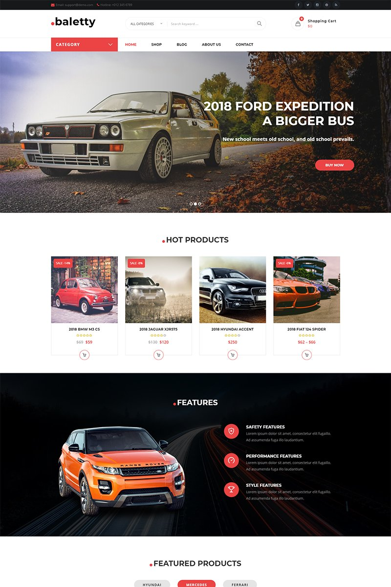 Website Design Template 70835 - car dealership listing website theme woocommerce seo shop speed store