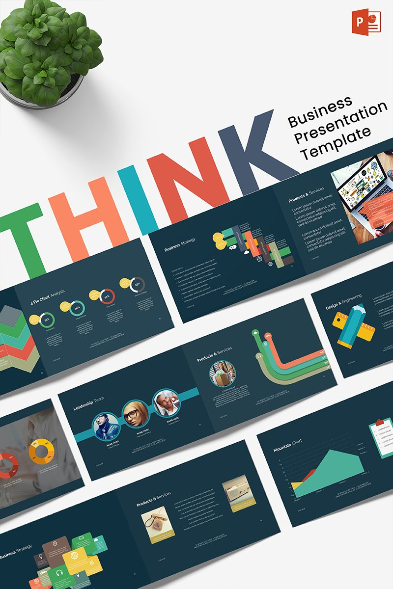 """""""Business Think"""" PowerPoint 模板 #70863"""