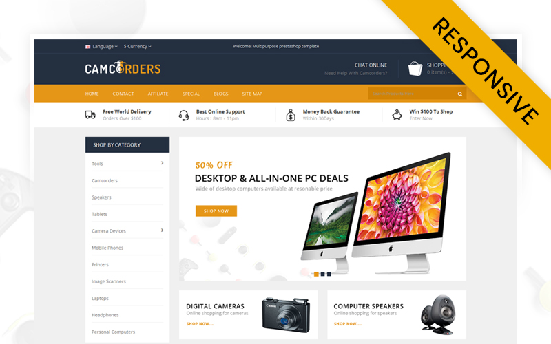 """""""Camcorder - Electronics Store"""" Responsive OpenCart Template №70849"""