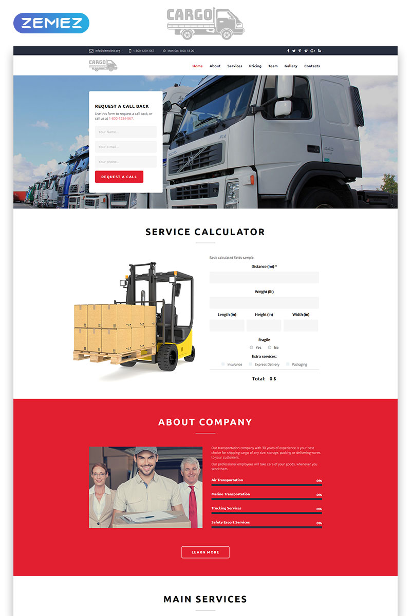 Cargo - Transportation HTML5 Landing Page Template