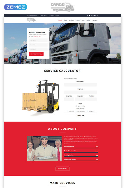 Cargo - Transportation HTML5 Landing Page Template #70833