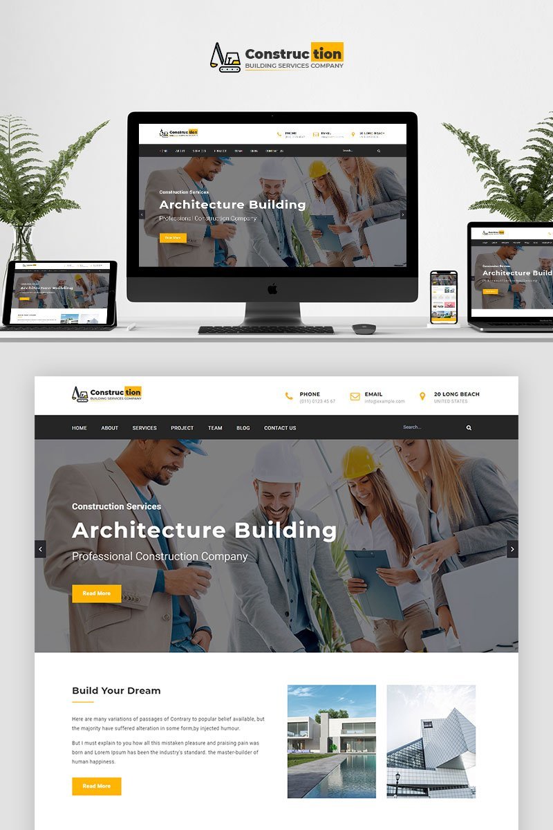 Construction - Parallax Landing Page Template