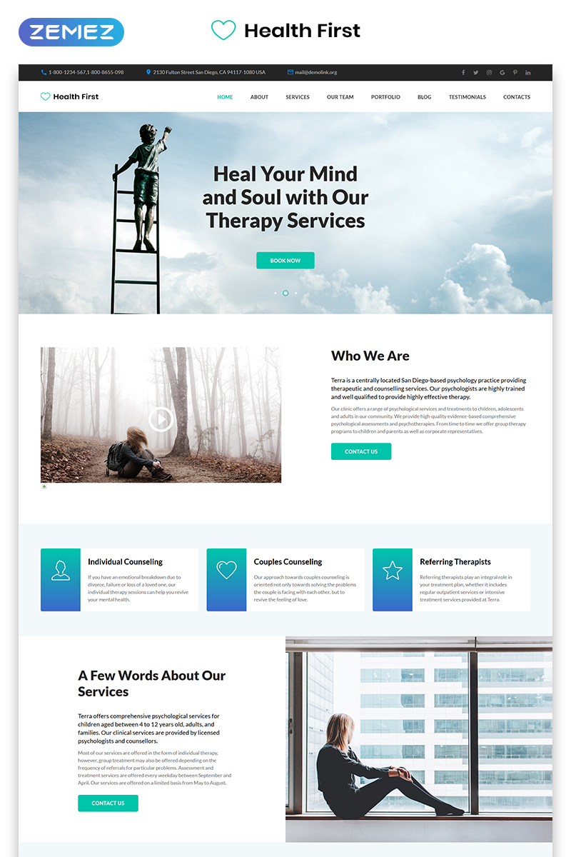 Health First - Calm Mental Health Institution Templates de Landing Page №70818