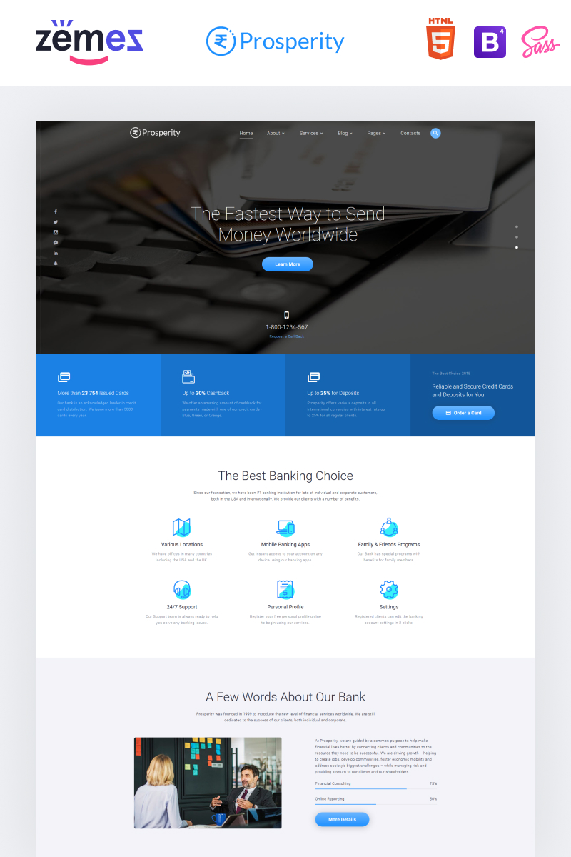 "Plantilla Web ""Prosperity - Banking Multipage HTML5"" #70897"