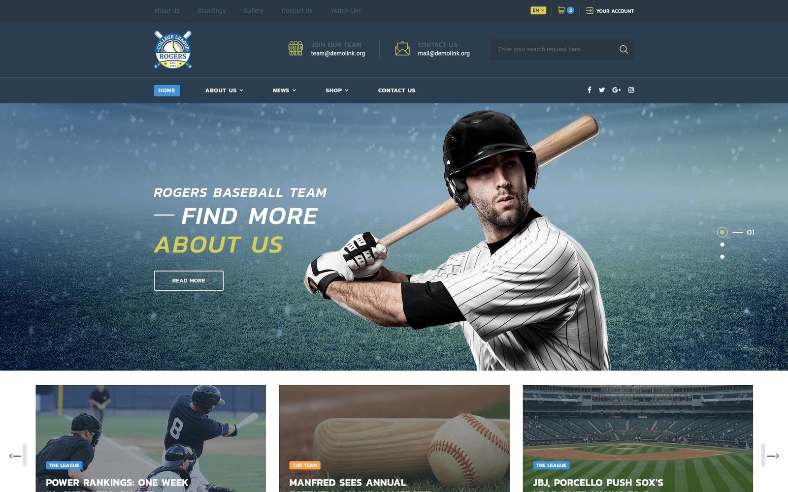 "Plantilla Web ""Rogers - Baseball Team Multipage HTML5"" #70848"