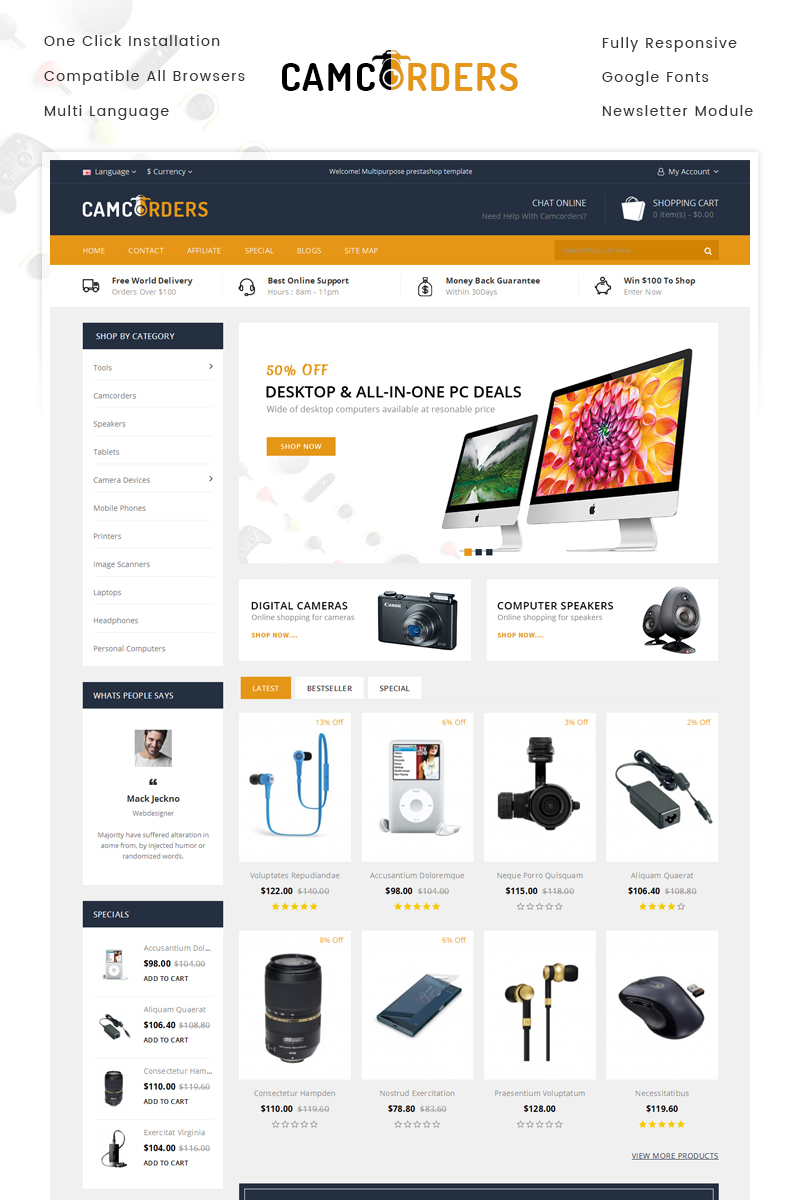 Responsive Camcorder - Electronics Store Opencart #70849