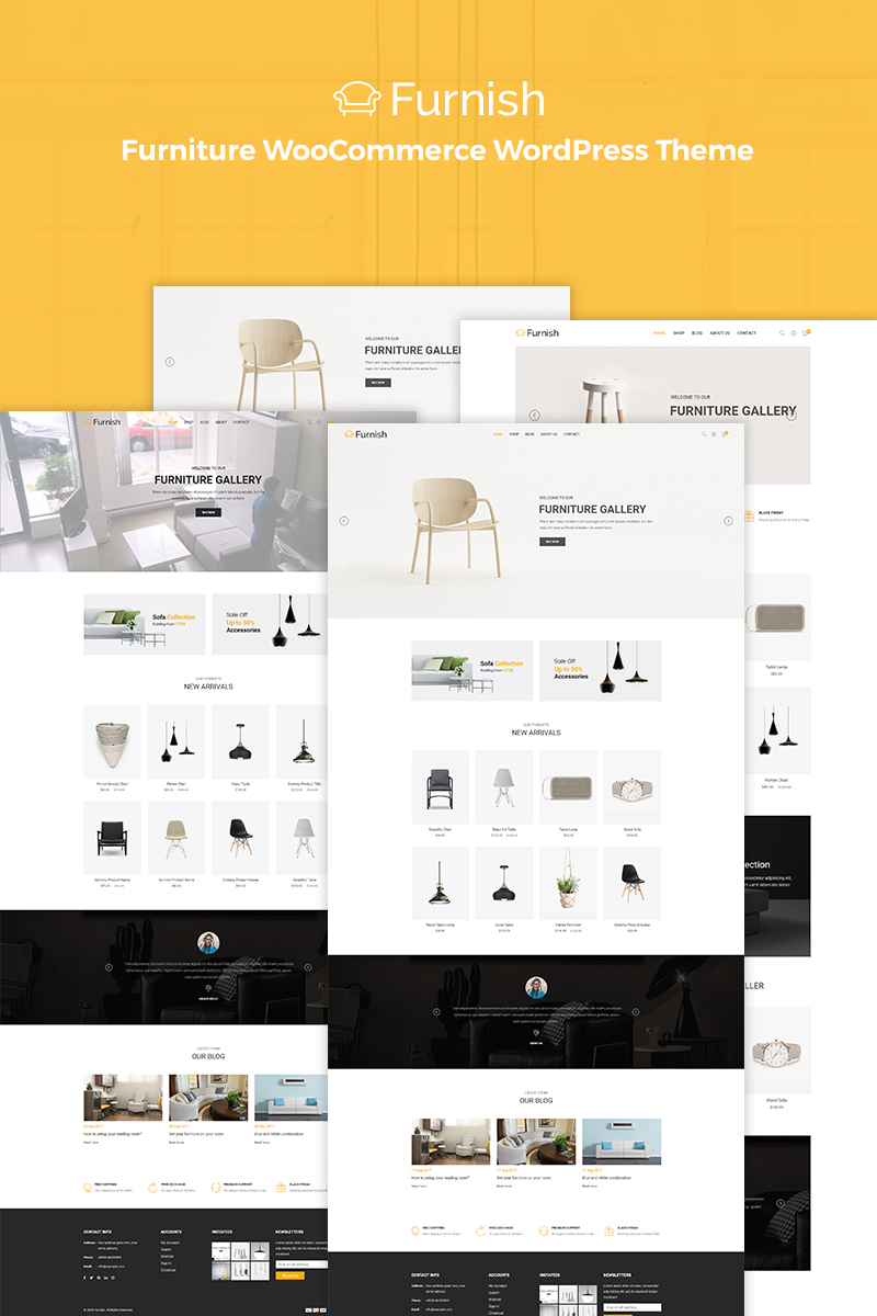 Responsivt Furnish - Minimal Furniture WooCommerce-tema #70829 - skärmbild