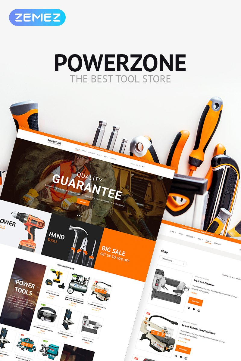 Responsywny motyw WooCommerce PowerZone - Tools Store Elementor #70830