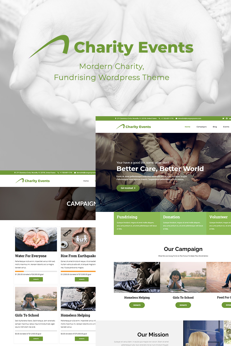 "Responzivní WordPress motiv ""Charity Events - Modern Charity / Fundraising"" #70816"