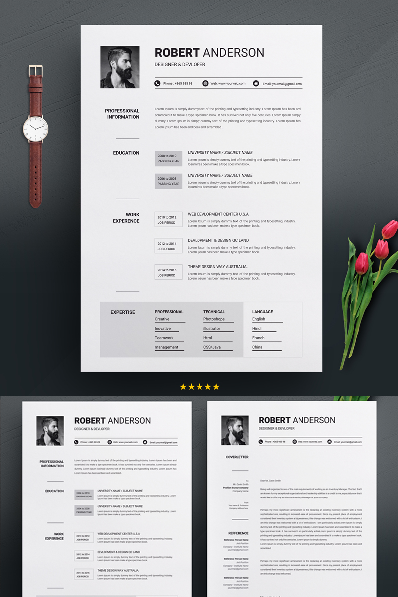 robert anderson clean resume template  70894