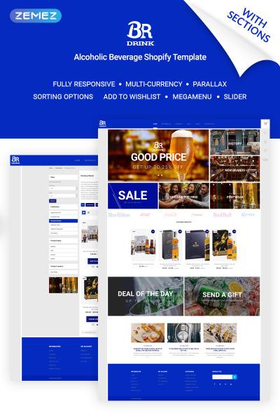 Responsive Tema Shopify #70804 para Sitio de  para Sitio de Bebidas
