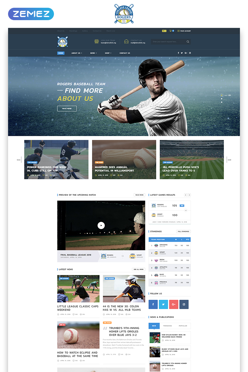 "Tema Siti Web Responsive #70848 ""Rogers - Baseball Team Multipage HTML5"""