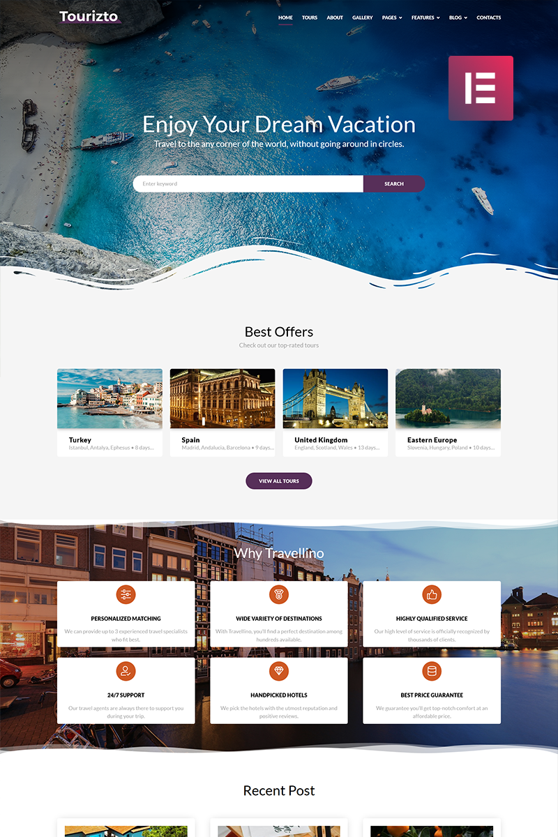 """Tourizto - Travel Company Elementor"" Responsive WordPress thema №70827 - screenshot"