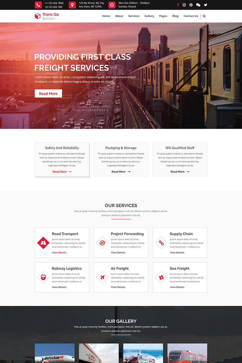 Trans Go - Transportation and Logistics PSD Template