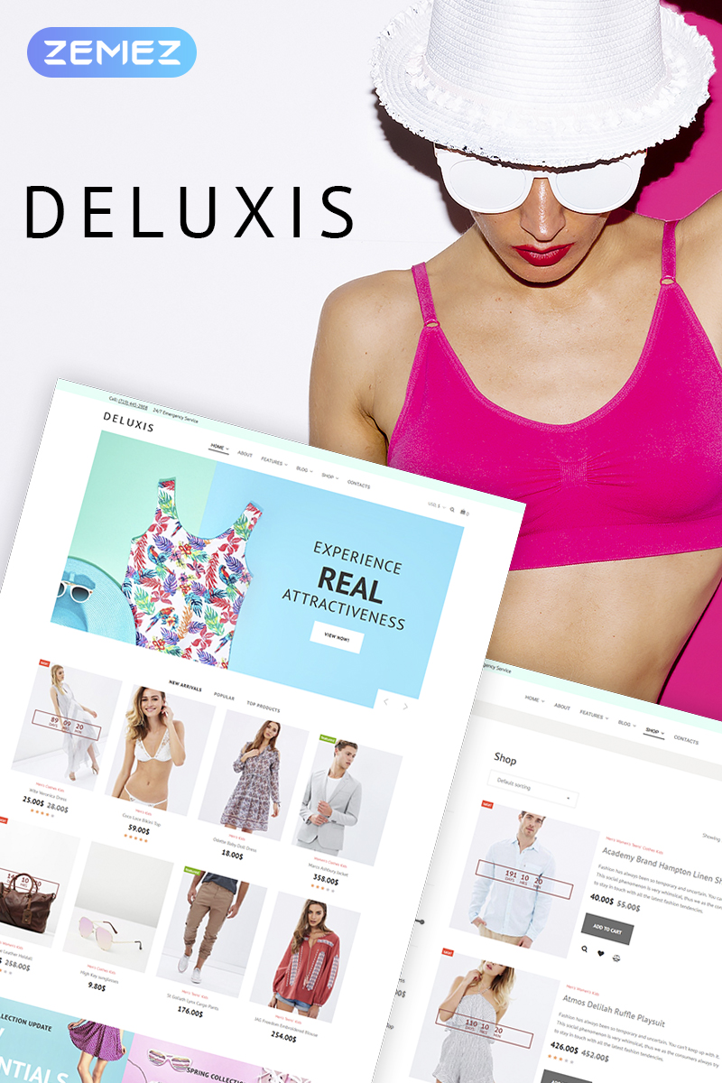 """WooCommerce Theme namens """"Deluxis - Fashion Store Elementor"""" #70855"""