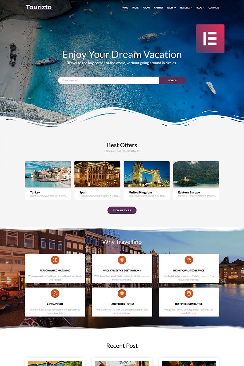 "WordPress Theme namens ""Tourizto - Travel Company Elementor"" #70827 - Screenshot"