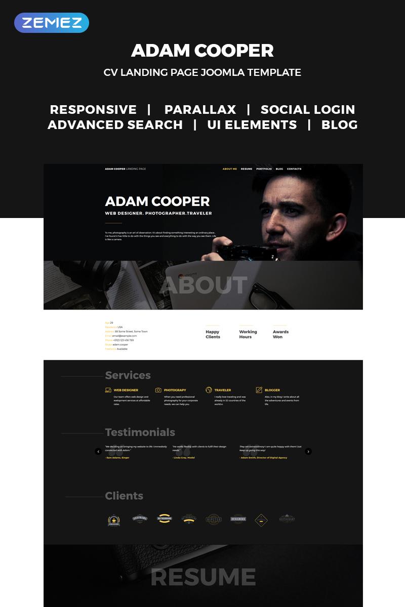 """Adam Cooper - Photographer Portfolio Landing"" thème Joomla adaptatif #70951"