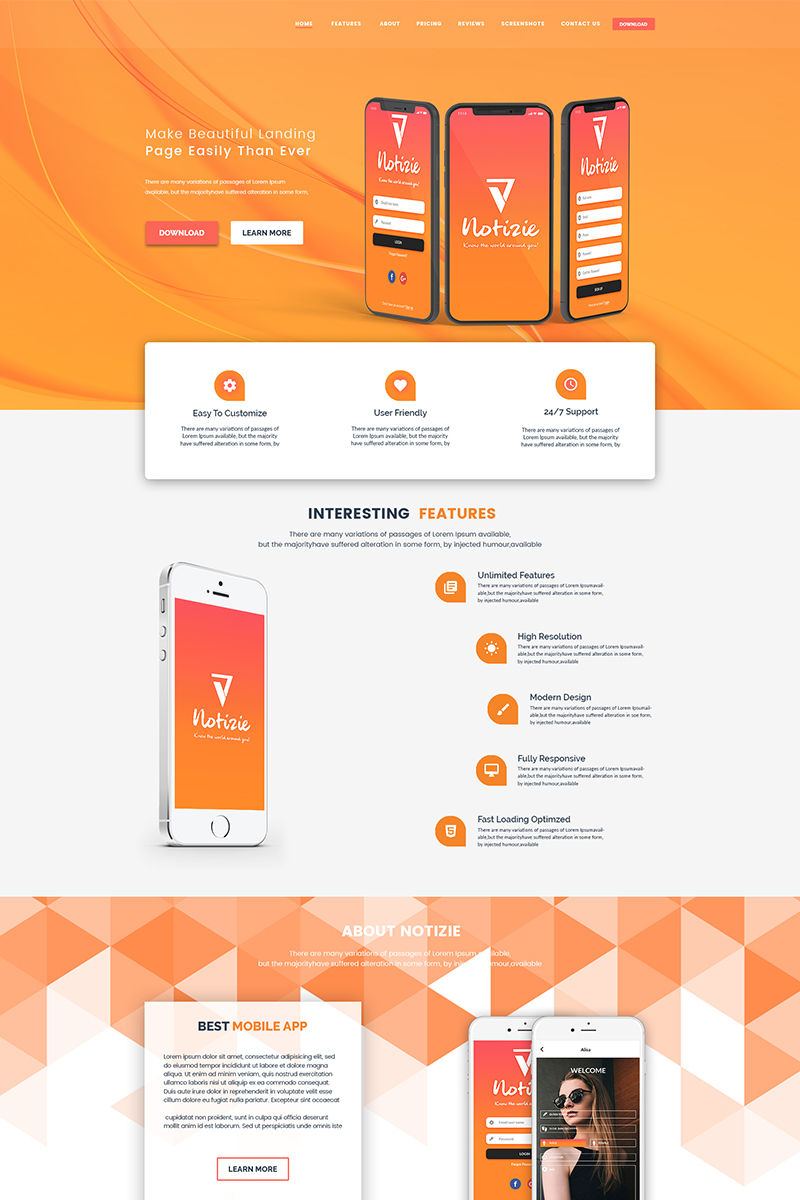Adi - Chat App Landing Page PSD Template