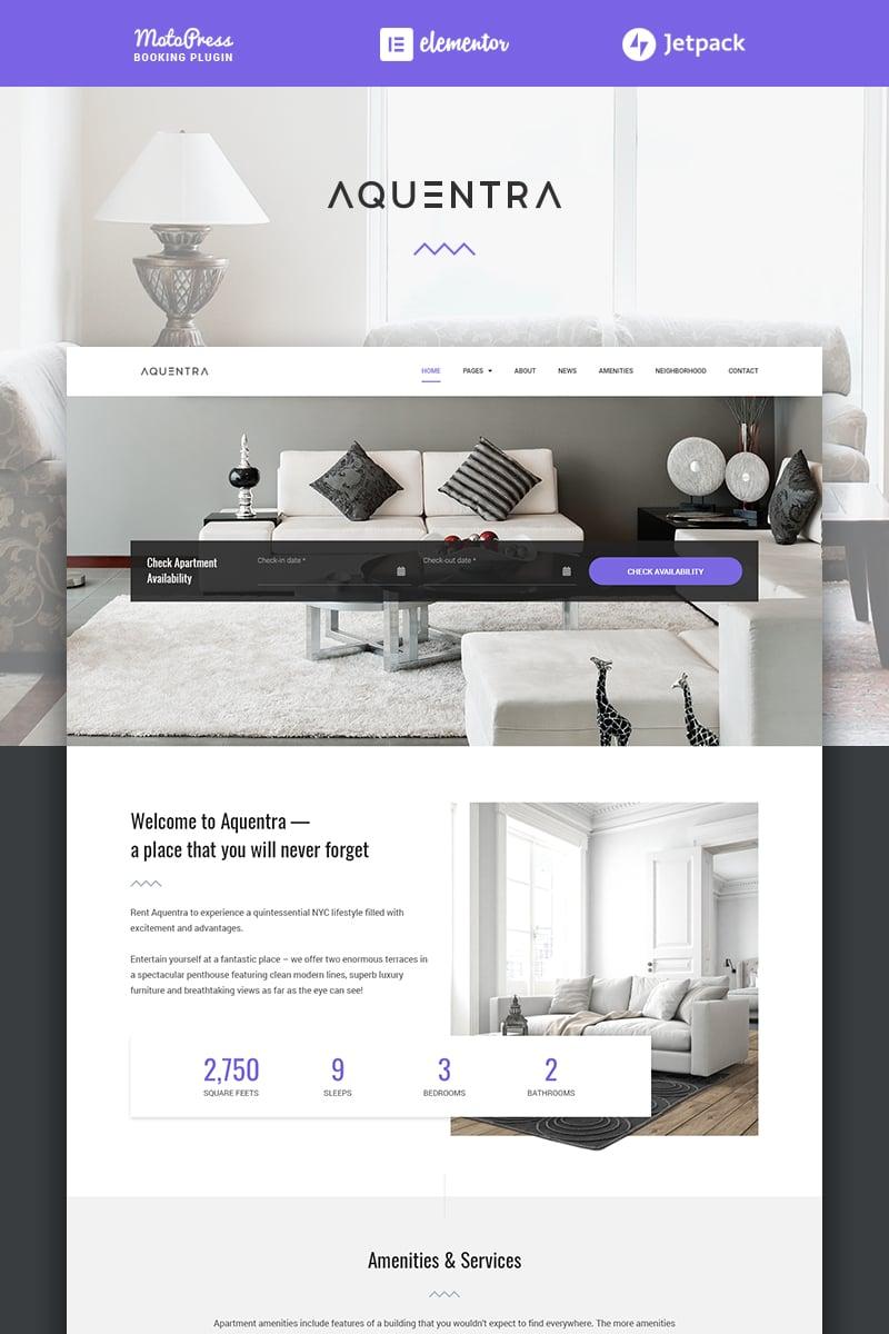 """Aquentra - Single Property Rental"" - адаптивний WordPress шаблон №70966 - скріншот"