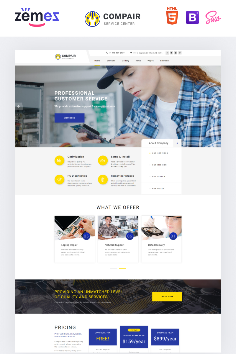 """Compair - Computer Service Multipage HTML5"" Responsive Website template №70945"