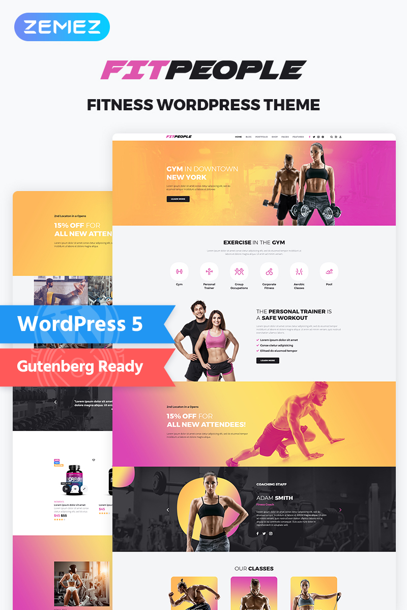 """FitPeople - Fitness Elementor"" WordPress模板 #70968"