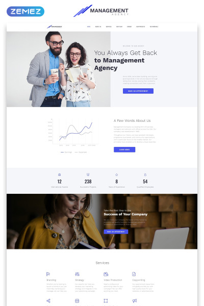 "Landing Page Template namens ""Management - Brilliant Management Company HTML"" #70902"