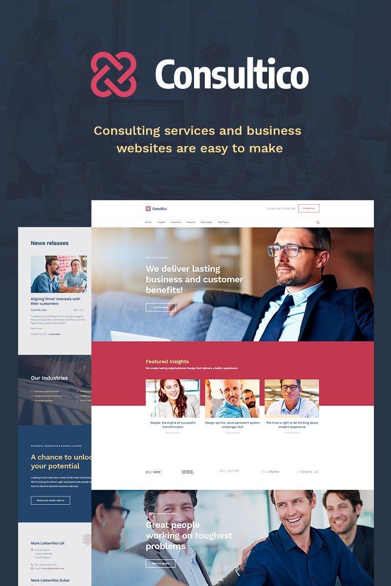 Responsivt Consultico - Consulting WordPress-tema #70904