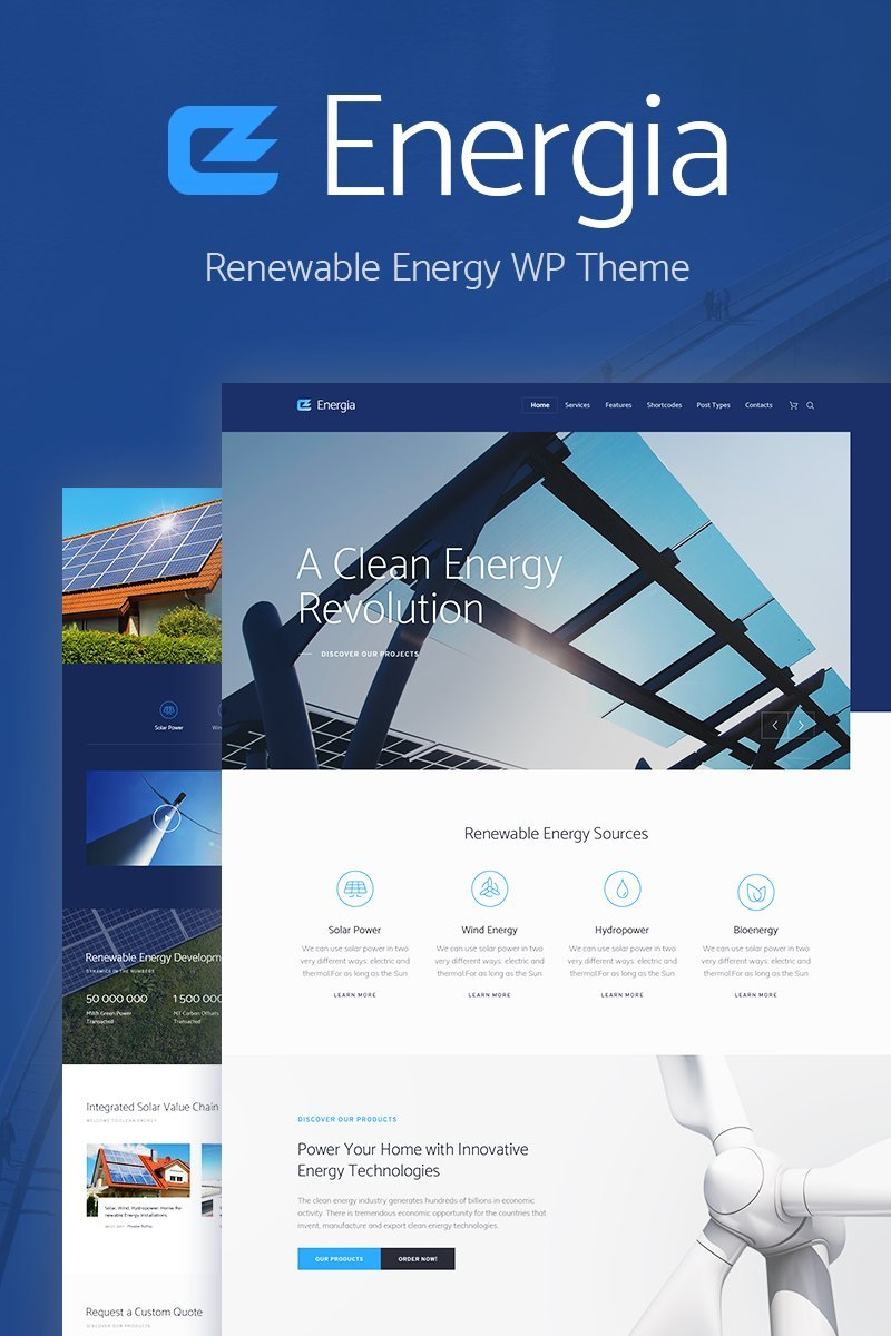 Responsivt Energia - Renewable Energy & Environment WordPress-tema #70903