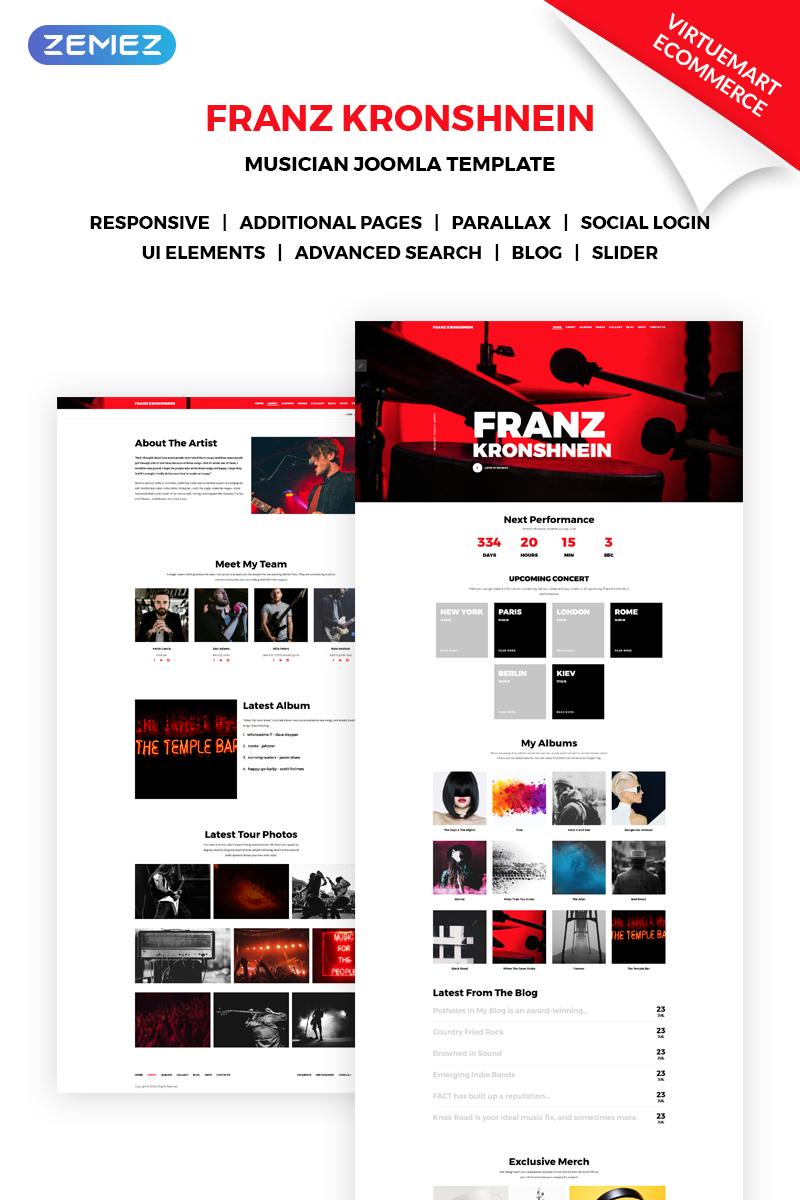 """Tema Joomla Responsive #70965 """"Franz Kronshnein - Musician"""""""