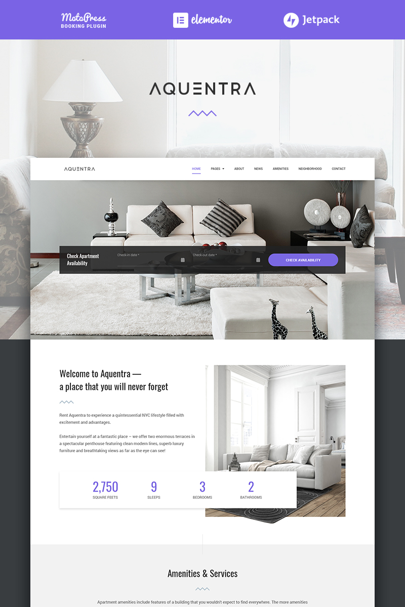 "WordPress Theme namens ""Aquentra - Single Property Rental"" #70966 - Screenshot"