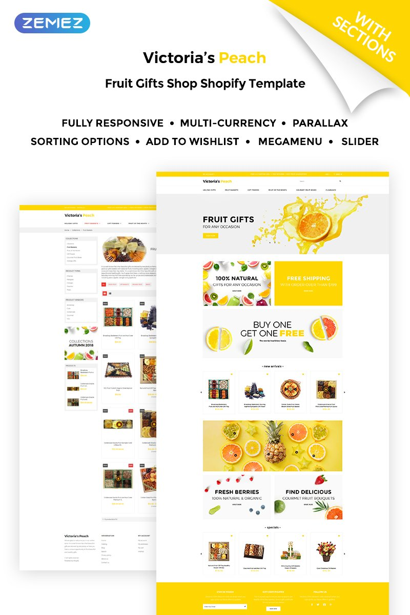 Website Design Template 71026 - product products online shopping ecommerce fruits presents gifts food sweets souvenir store