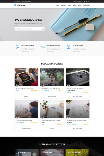 Website Design Template 71032 - education wordpress theme elearning management system lms teaching training center udemy university wplms