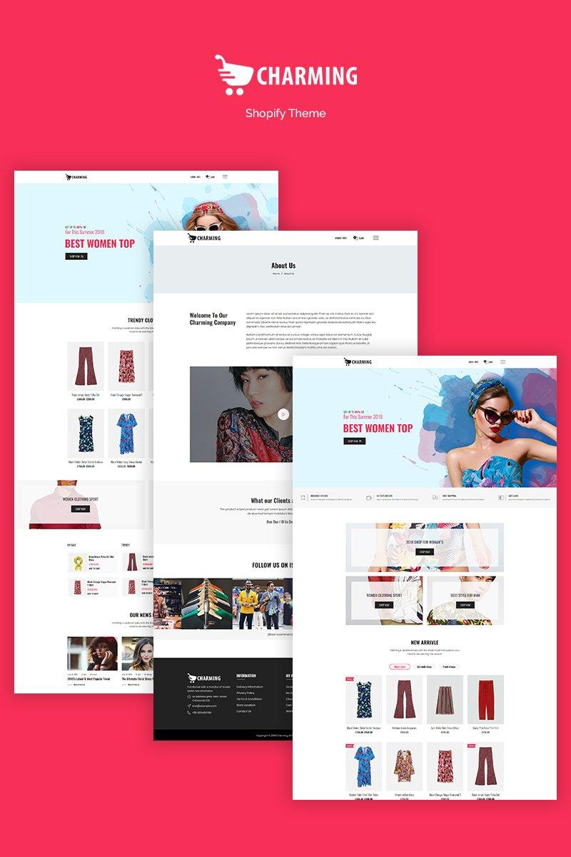 Website Design Template 71060 - clean clothing elegant fashion hat store watch shopify sections responsive theme bootstrap modern shopping online technology multipurpose