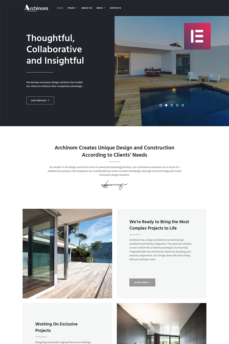 Archinom - Architect Elementor Tema WordPress №71007 - captura de tela