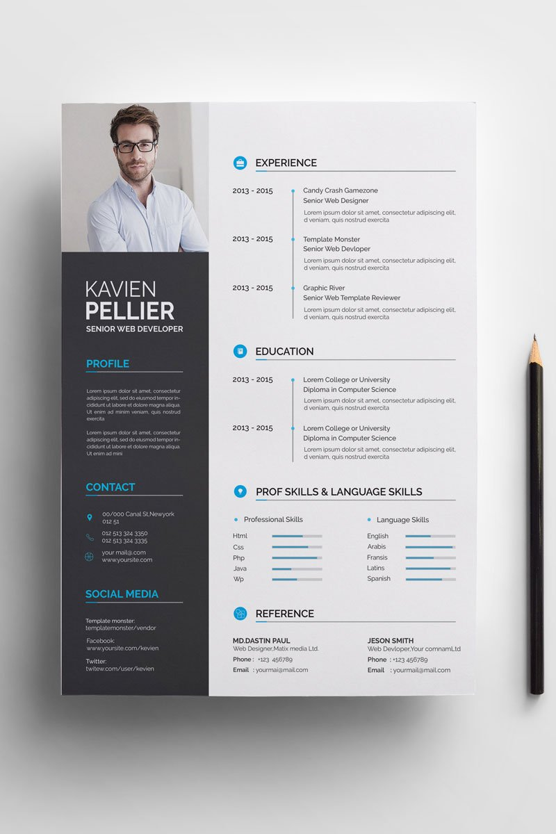 Clean and Creative Kavien Pellier Resume Template - screenshot