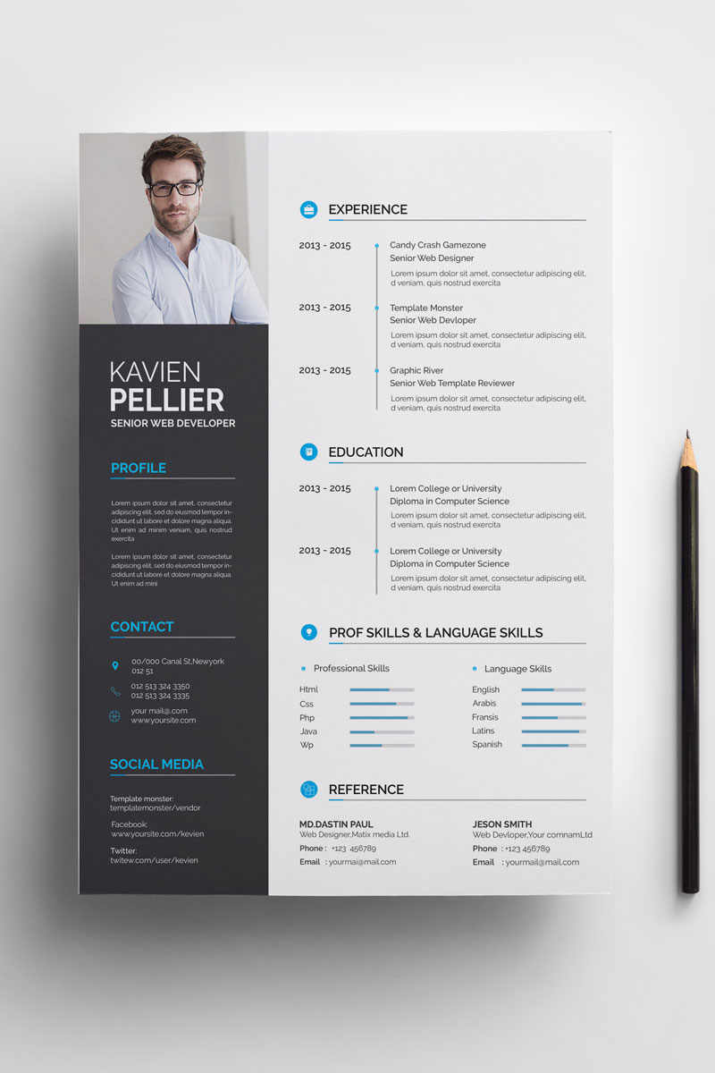 Clean and Creative Kavien Pellier Resume Template