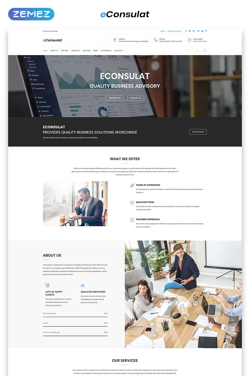 eConsulat - Solid Business Company HTML Landing Page Template - screenshot
