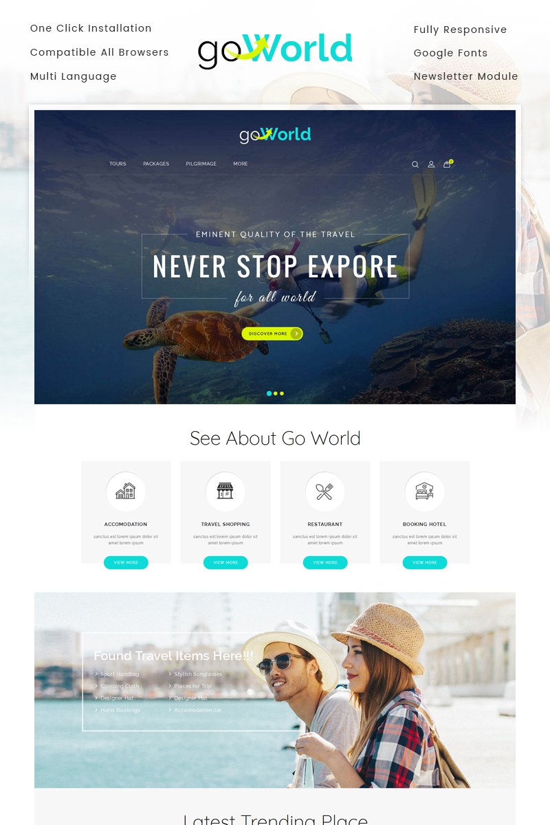 """Go World - Travel Store"" Responsive OpenCart Template №71019"