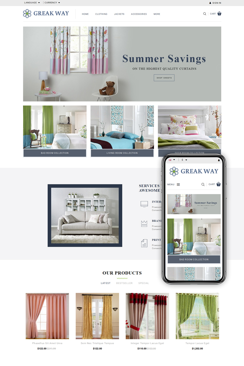 "OpenCart šablona ""Greak Way - Curtains Store"" #71096"
