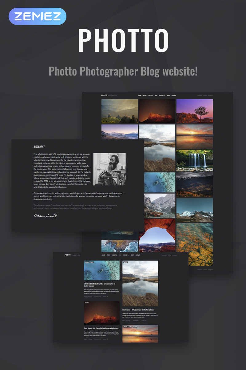 """Photto - Photographer Blog Elementor"" Responsive WordPress thema №71021"
