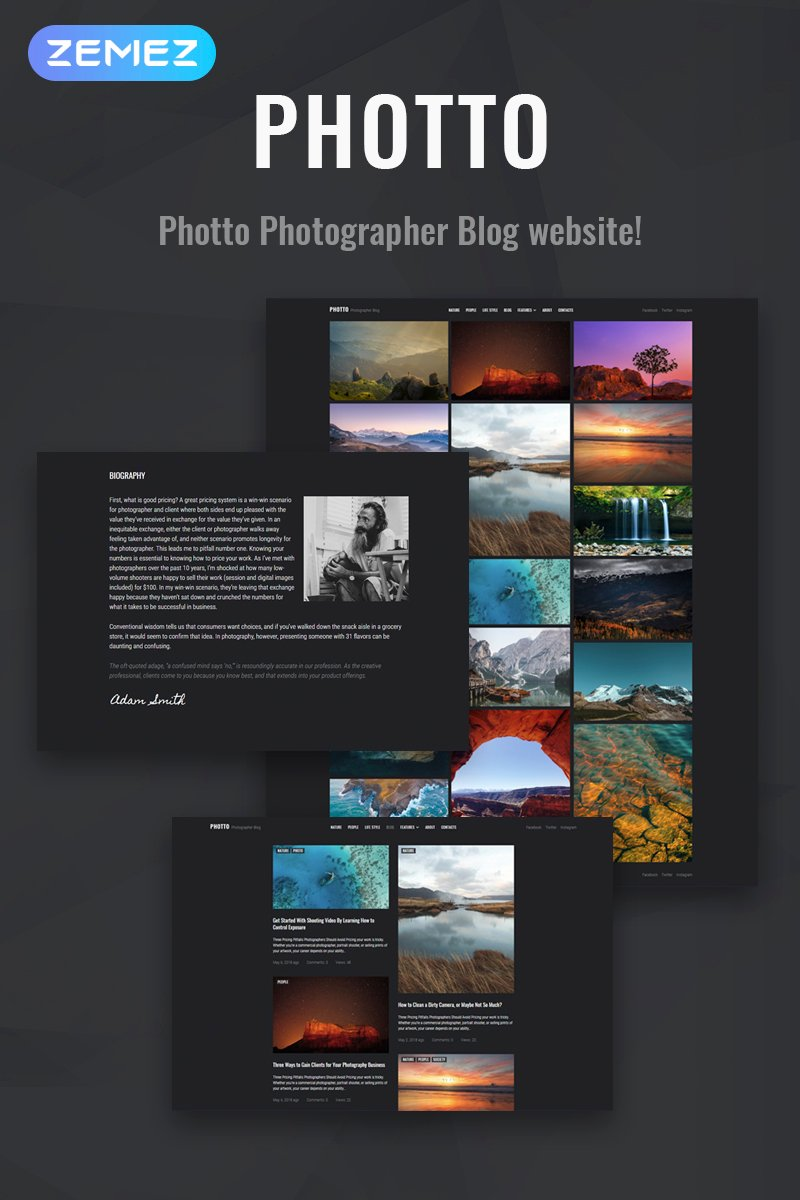 """Photto - Photographer Blog Elementor"" 响应式WordPress模板 #71021"