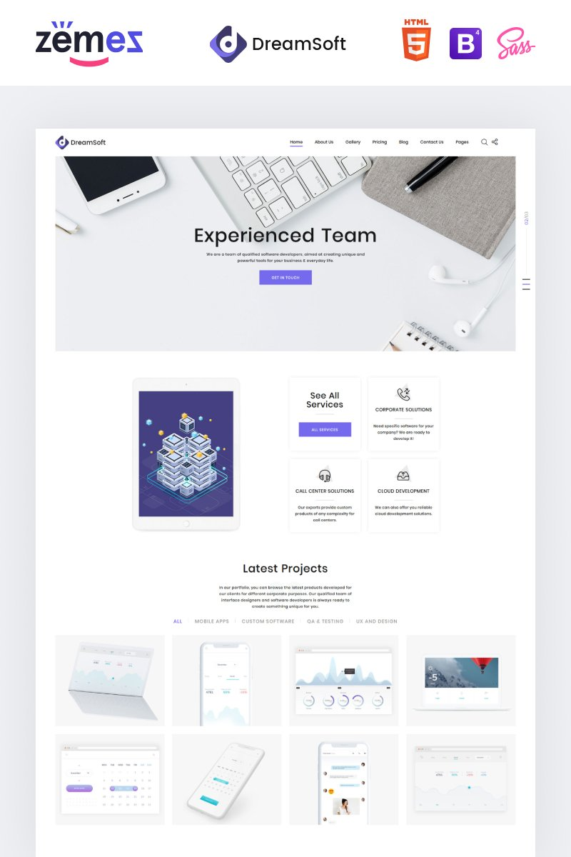 "Plantilla Web ""DreamSoft - Software Development Company Multipage"" #71028"
